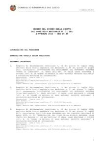 Ordine dei lavori Consiglio Regionale Lazio 2.10.2013
